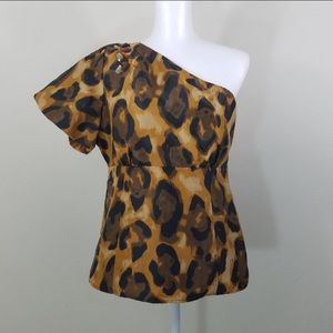 Kenar One Shoulder Leopard Blouse Size 14